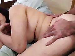 Fat Mature Woman Fucked By Young Guy Getting Creampie On The Bed