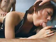 Hairy Japanese pussy is fucked hard in a threesome