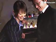 Girl In Uniform Kissing Getting Her Tits Rubbed Sucking Cock In The Bar