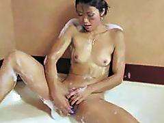 Shaved Asian pussy babe masturbation