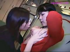 2 Girls Kissing Passionately Rubbing Tits In The Hall