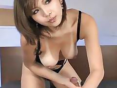 Busty Japanese naughty blowjob