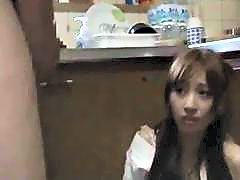 Asian Girl Getting Her Mouth And Pussy Fucked While Standing Cum To Ass In The Kitchen