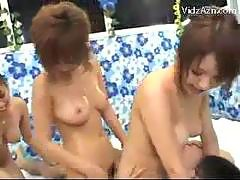 3 Girls Rubbing Jerking Guys Cock One Girls Pussy Fucked Tasting Cum In The Shelter