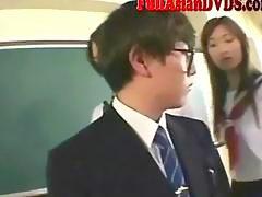 Asian School Grils Play In Classroom