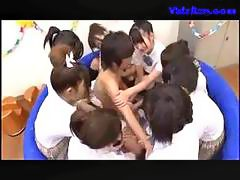 Many Schoolgirls Rubbing Jerking Guy Cock In A Small Pool In The Classroom
