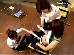 Girl In Stripped Topped Getting Her Nipples Pussy Stimulated With Vibrators By 2 Girls On The Chair In The Beauty Saloon