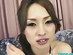 Asian Girl In Bikini Top Getting Her Pussy Stimulated And Fucked With Toys On The Couch