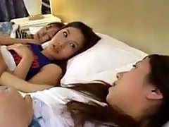 Asian Girl Getting Her Nipples Sucked Pussy Rubbed While 3 Rd Girl Sleeping On The Bed