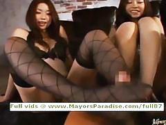 Japanese AV girls are fondling a cock for a friend