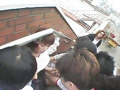 Asian chick gets messy facial by gangbang of hard cock action