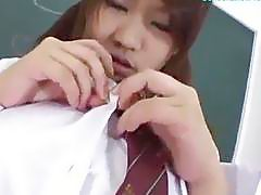 Busty Schoolgirl Fingering Herself Giving Blowjob For Guy Rubbing Cock With Tits Cum To Boobs Tasting Semen In The Classroom